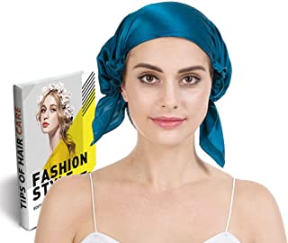 Savena 100% Mulberry Silk Night Sleeping Cap for Long Hair Bonnet Hat Smooth Soft Many Colors, Hair Care Ebook Included (Blue)