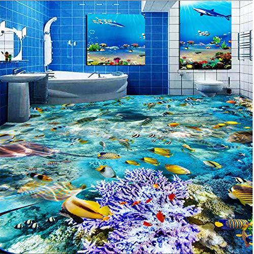 ZJfong vliesbehang HD Dream Underwater World Toilet Badmat 3D vloerkleur 140x70cm