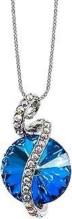 MOONSTONE Fashion Pendant For Women Sterling Silver Pretty Ribbon Wrapped Round-Cut Swarovski Crystal Elements Chain