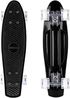 ENKEEO 22 Inch Cruiser Skateboard Complete Plastic Banana Board with Bendable Deck and Smooth PU Casters for Kids Boys Youths Beginners, 220 Ibs.