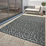 TT Home Moderner Outdoor Teppich Wetterfest Innen & Außenbereich Marokko Design In Grau, Größe:200x290 cm