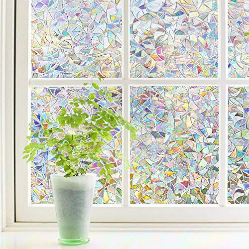Finnez Window Film Decorative Privacy Film 3D No Glue Glass Sticker for Glass Door Home and Office Heat Control Anti UV 35.4 x 157.4 inches