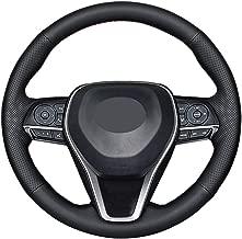 DIY Sew Black Microfiber Leather Car Steering Wheel Cover for 2018 2019 Toyota Camry / 2019 2020 Avalon / 2020 Corolla / 2019 RAV4 (Red Thread)