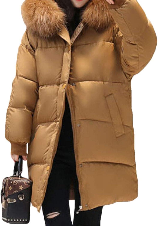 Women Overcoat Thicken Puffer Coat Fur Trim Hooded Long Down Parka Jacket