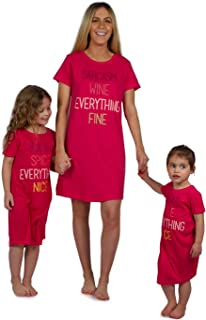 Mommy & Me Matching Pajamas Short Sleeve Nightgowns Outfits - Pink/Red