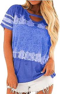 المرأة القمصان التعادل صبغ التدرج مطبوعة تي شيرت عارضة س الرقبة قصيرة الأكمام تي شيرت قمم (Color : Blue, Size : S)
