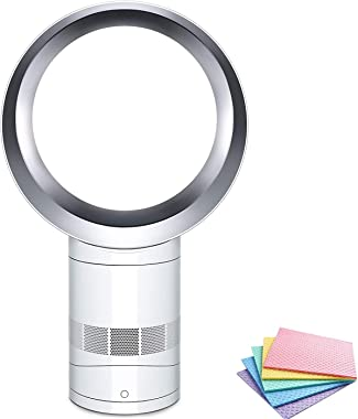 Dyson Air Multiplier Bladeless Easy to Clean, Timer, Remote Control, Adjustable Tilt/Head, AM06 Quiet Table Fan, 10 Inches, W