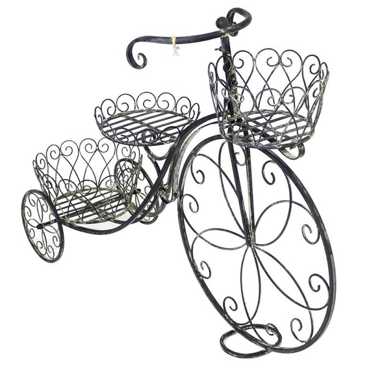 電話誰が厳LWT レトロフラワースタンドヨーロッパスタイルの自転車フロアタイプフラワーポットラックバルコニーリビングルームディスプレイラック(ブラック、38.6 * 11.8 * 28.3インチ)
