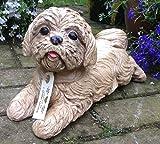 Cachorro de perro de piedra grande jardín o adorno de casa regalo–Estatua/Escultura