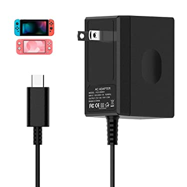 Switch Charger for Nintendo Switch, AC Adapter Charger for Nintendo Switch Power Adapter Fast Charging Portable Charger 15V/2.6A (Support TV Mode and Dock) Switch Lite Charger with 5FT Type C Cable
