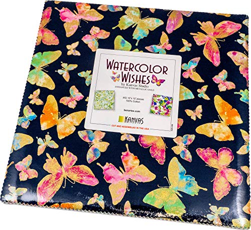 Kanvas Studio Watercolor Wishes 10X10 Pack 42 10-inch Squares Layer Cake Benartex