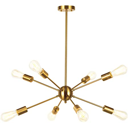 VINLUZ Sputnik Chandelier Contemporary 8 Lights Brushed Brass Modern Pendant lighting Gold Mid Century Ceiling Light Fixture for Dining Room Bed Room Kitchen Room UL Listed