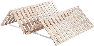 すのこベッド シングル 折りたたみ 二つ折り 天然木 耐荷重200kg 布団干し機能付き 収納ベット 湿気対策 (シングル, 四つ折)