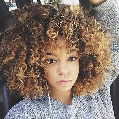 Gemengde Bruin & Blond Haar Fiber Hoge Synthetisch Haar Synthetische Korte Haar Afro Kinky Krullend Pruiken voor Zwarte Vrouwen, met Pruik Cap