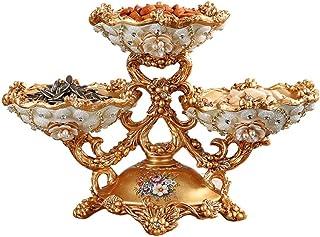 Jlxl 3 fruktskål handsnidad guldtorkad frukttallrik lyxig godisskål hem kreativa tillbehör vardagsrumsdekoration