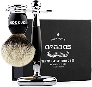 Shaving Brush and Stand, Anbbas Silvertip Badger Hair Brush Set with Stainless Steel Shaving Stand for Double Edge Safety Razor Straight Razor,Black Resin Alloy Handle for Men