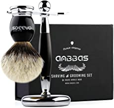 Shaving Brush and Stand, Anbbas Silvertip Badger Hair Brush Set with Stainless Steel Shaving Stand for Double Edge Safety Razor Straight Razor,Black Resin Alloy Handle for Men