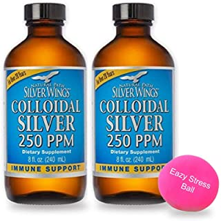 Natural Path Silver Wings - Extra Strength Colloidal Silver 8 Fl. Oz 250PPM, (Pack of 2) - Active Silver Hydrosol for Immu...