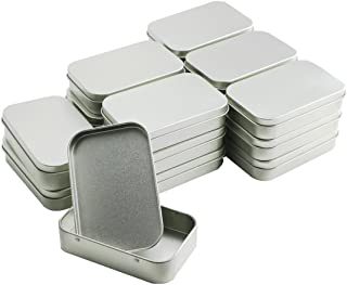 BcPowr 18 PCS Silver Metal Rectangular Empty Tins Box Containers Basic Necessities Tins Mini Portable Box Small Storage Kit Use for First Aid Kit,Survival Kits,Storage,Herbs,Pills,Crafts and More.