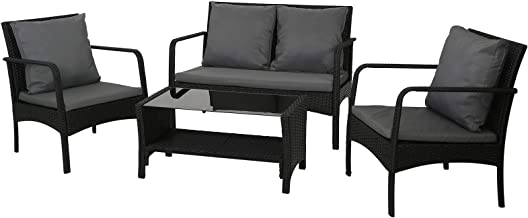 Gardeon Outdoor Furniture Garden Patio Furniture Sets Outdoot Lounge Chairs Rattan Setting with Cushions