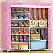 Polka Dotted Dual Partition Shoe Rack