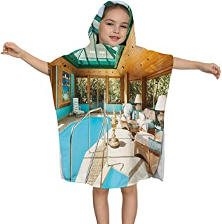 BFDX Kids Hooded Toalla de baño for Bath Pool and Beach,Sweet Natural Cosmetics Flowers with Names Dog-Rose Chamomile Calendula Lavender, for Boys & Girls Toddler 1-7 Years Old Bath Robe
