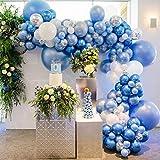 Azules Globos Guirnalda Kit, 98 piezas Fiesta Decoración con Globo de Látex Blanco, Globo de Confeti Plateado, Globo Metálico Azul, Arco de Globos para Bodas, Fiestas de Cumpleaños