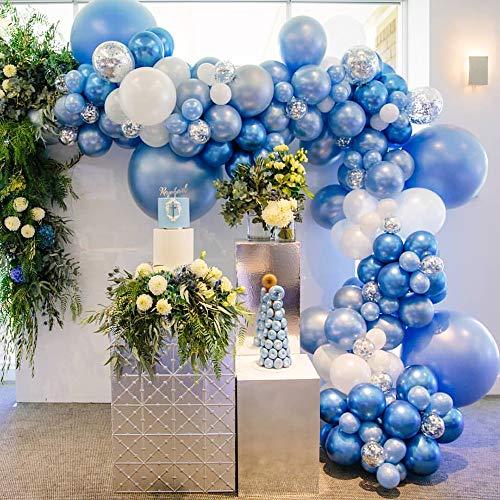 Blu Palloncino Kit Ghirlanda,98 Pezzi Feste Decorazioni set con Blu Metallizzato Lattice Palloncino,Coriandoli Argento Palloncino,Arco di Palloncino per Festa di Compleanno di Matrimonio(Blu)
