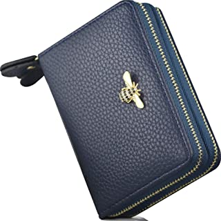 RFID Bee Credit Card Wallets 2 Zipper Gold Plated Large Capacity Leather ID Card Holder For Women (Blue - Type 1)
