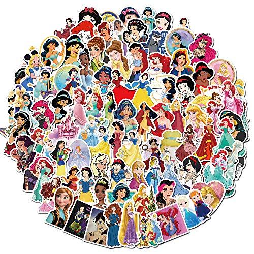 ZNMSB 100 Dibujos Animados Disney Princess Drive To Series Graffiti Pegatinas de Coche de Equilibrio Pegatinas de Casco de Coche eléctrico para Scooter