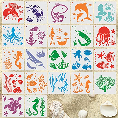 MHwan plantilla para pintar pared, Plantillas de animal, Plantillas plásticas reutilizables de la pintura del mar para los...