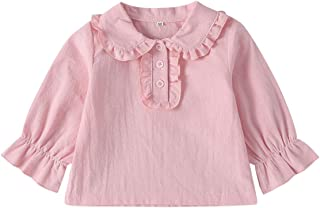 Xifamniy Infant Girls Pullover Cotton Doll Collar Solid Color Horn Cuff Long Sleeve Tops