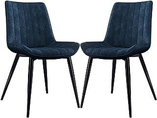 ZCXBHD Clásico Sillas Comedor Sillas Cocina Salón Ocio Sala Sillas de la Esquina con Patas de Metal Cuero PU Asiento y Respaldos for sillas de Restaurante (Color : Blue, Size : 2pcs)