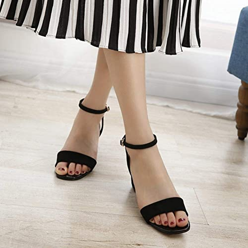 Sandalias Femeninas zapatos Correas de Tobillo Rough Mattfish Boca Todas Las Hauszapatos Coinciden con Las Mareas (Color   negro, tamaño   37)