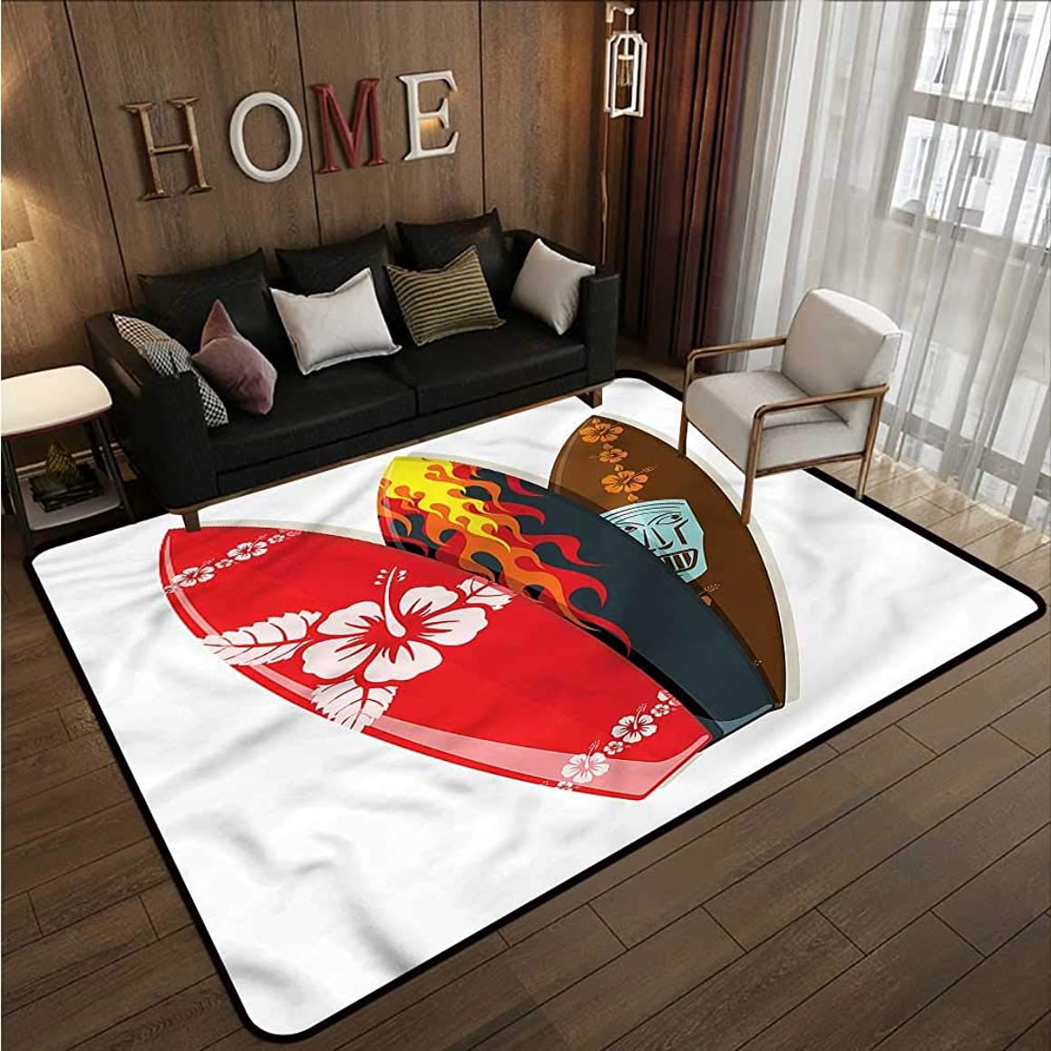 Kids Rug Surfboard Hawaiian Patterns Tropics Anti-Slip Doormat Footpad Machine Washable 5'10