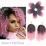 3pcs/Pack 10'' Afro Kinky Twist Hair Crochet Braids Ombre Pink Braiding Hair Synthetic Marlybob Curly Crochet Hair Pieces (T1B/PINK)