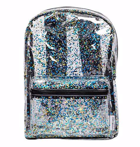 A Little Lovely Company, rugzak, glitter, transparant, zwart, 24 x 34,5 x 11 cm
