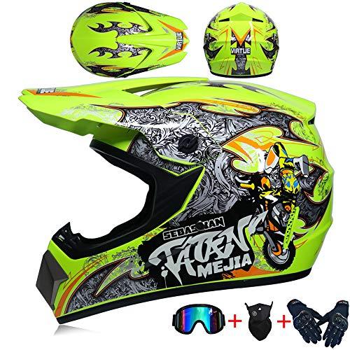 guanti monster energy HXCZ JCLDG Casco da Motocross con Moto Occhiali Guanti Maschera Caschi da Cross Motocicletta DH off-Road Enduro Quad Motociclo ATV MTB BMX Motorbike Cross Country per Uomini Donne