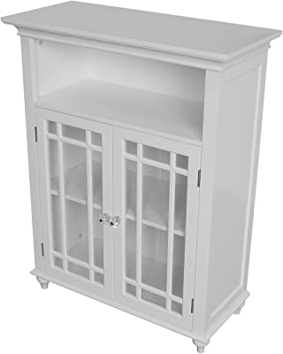 Elegant Home Fashions Neal Collection Shelved Double-Door Floor Cabinet with Latticed Window Panels, White