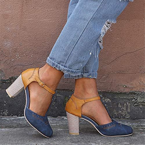 Sommerfrauen hochhackige Sandalen, High Heels Flacher Mund Quadrat Damen Plateauschuhe runder Kopf einzelne Schuhe Sandalen, lässig im Freien,6