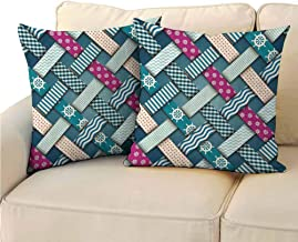 QIAOQIAOLO Pack of 2 Personalized Pillowcase Nautical Decor Double-Sided Printing 24x24 inch Marine Motif with Interweaving Patchwork Quilt Style Striped Lines Artwork Fuchsia Teal