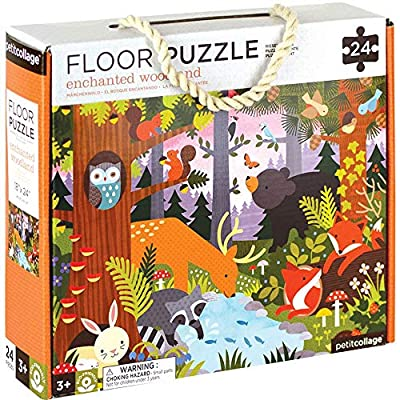 """Petit Collage Floor Puzzle, Enchanted Woodland, 24-Pieces – Large Puzzle for Kids, Completed Animal Jigsaw Puzzle Measures 18"""" x 24"""" – Makes a Great Gift Idea for Ages 3+"""