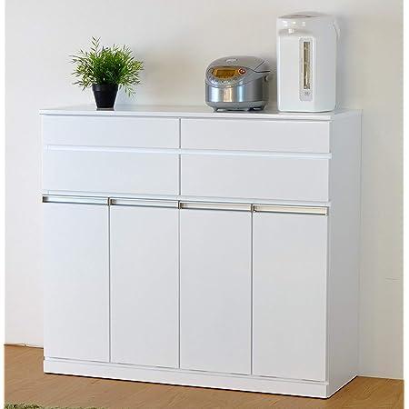 ISSEIKI【選べる3サイズ】キッチンカウンター ダストボックス付き ISSEIKI PEARL DUST BOX 4D (WH) 白 カウンター収納 ゴミ箱内蔵 木製家具