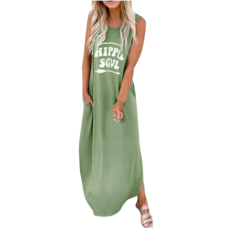 Women's Casual Loose Pocket Long Dress Sleeveless Split Maxi Dresses HAPPLESOUL Print Mini Dresses
