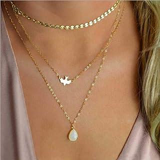Anglacesmade Bohemia Layered Choker Necklace Gold Disc Choker Dove Necklace Gemstone Necklace Pigeon Gem Charm Pendant Nec...