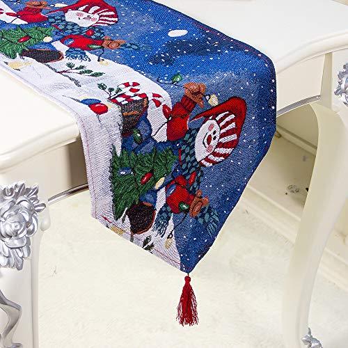 OldPAPA - Camino de mesa - Decoraciones navideñas de poliéster y algodón impreso mantel para Navidad, vacaciones, fiestas, cenas, banquetes