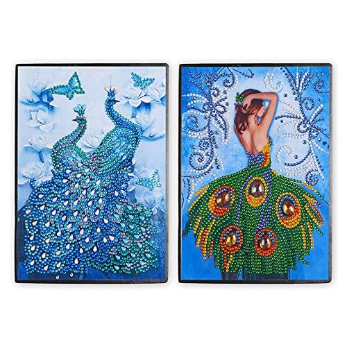 ZIIVARD 2 Stück DIY Diamant Malerei Cover Note 5D spezielle Form Diamant Malerei Tagebuch A5 Schreiben Journal Note für Kinder Schule Büro täglichen Gebrauch