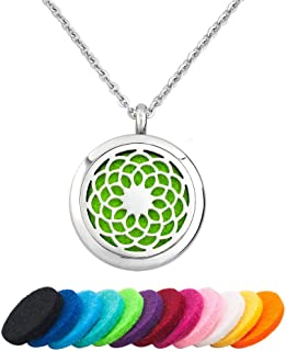 LoEnMe Jewelry Aromatherapy Essential Oil Diffuser Lotus Cherry Blossom Mushroom Heart Flower Pendants Necklace with Free Pads