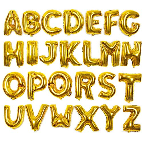 SELLA 16 32 40 Zoll Happy Birthday Party Luftballons Folie Buchstabe Alphabet Ballon Hochzeitsdekoration Kinderspielzeug Babyparty Luftballon, Gold, L.