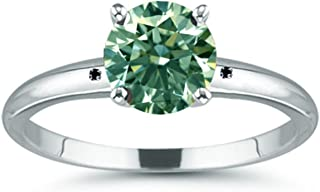 Round Green Moissanite Solitaire Silver Plated Engagement Ring (Size 7, 5.44 ct,VS2 Clarity)